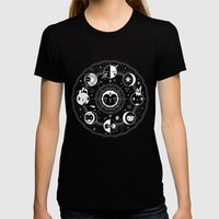 Moon Phases Womens Fitted Tee Black SMALL
