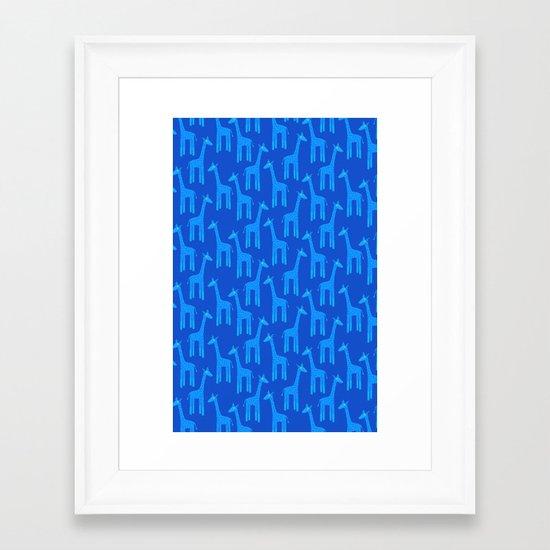 Giraffes-Blue Framed Art Print