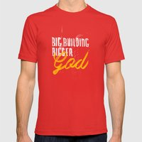 Big Building Bigger GOD Mens Fitted Tee Red SMALL