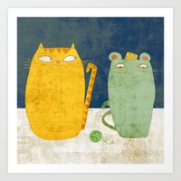 Cat-mouse friendship Art Print