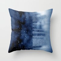 blue abstract with raindrops Throw Pillow