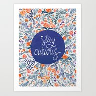 Stay Curious – Navy & … Art Print