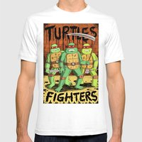 TURTLES FIGHTERS Mens Fitted Tee White SMALL
