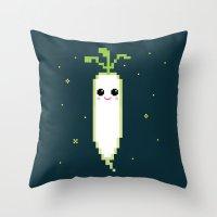 Happy Pixel Daikon Throw Pillow