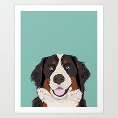 Bernese Mountain Dog pet portrait dog art illustration fur baby dog breed unique gift for dog lover  Art Print