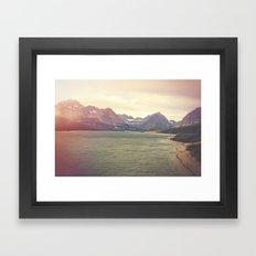 Retro Mountain Lake Framed Art Print
