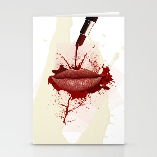 RED LIPS!  Stationery Card