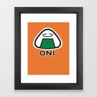 Oni the Onigiri, Kawaii Framed Art Print