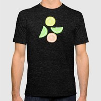 Mixed Citrus - blue Mens Fitted Tee Tri-Black SMALL