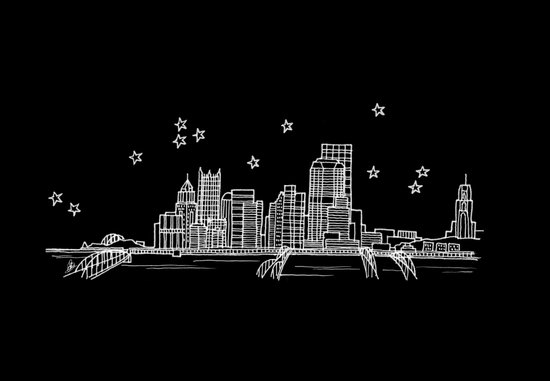Pittsburgh, Pennsylvania City Skyline Art Print