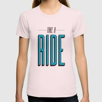 Take A Ride Womens Fitted Tee Light Pink SMALL