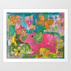 Amazing You Pink Elephant Art Print