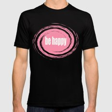Be Happy with Baker-Miller Pink Color Mens Fitted Tee Black SMALL