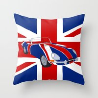 Shaguar (on Union Jack) Throw Pillow