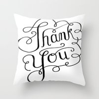 Thank you Hand Lettered Calligraphy Throw Pillow