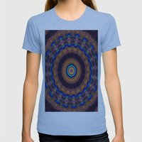 Peacock Pinwheel Womens Fitted Tee Athletic Blue SMALL
