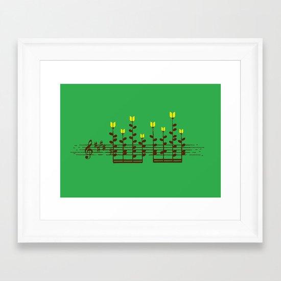 Music notes garden Framed Art Print