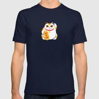 Lucky Cat Mens Fitted Tee Navy SMALL