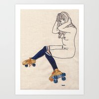 Striped Socks And Roller… Art Print