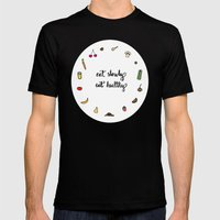 Eat slowly, eat healthy. A PSA for stressed creatives. Mens Fitted Tee Black SMALL