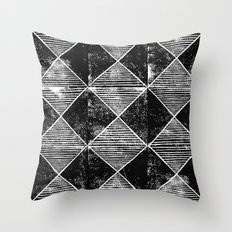 Chequers I Black Throw Pillow