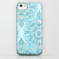 iPhone 5c Cases featuring Turquoise Blue, Teal & White Protea Doodle Pattern by micklyn
