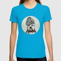 Sir Dandie Dinmont Terrier Womens Fitted Tee Teal SMALL