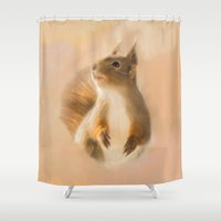 Squirrel, oil and chalk painted squirrel Shower Curtain