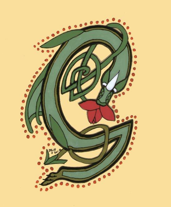 Celtic Dragon Letter G Canvas Print