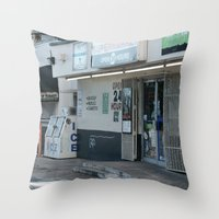 #OPEN 24 HOURS - MIAMI, USA by Jay Hops Throw Pillow