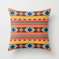 Navajo blanket pattern- orange Throw Pillow