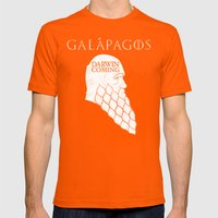 Darwin is Coming Mens Fitted Tee Orange SMALL