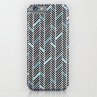 Herringbone Black and Blue iPhone 6 Slim Case