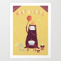 Happy Birthday Purple Mo… Art Print