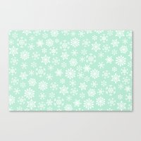 minty snow flakes Canvas Print