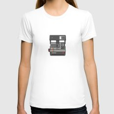 #43 Polaroid Camera Womens Fitted Tee White SMALL