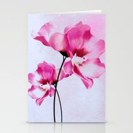 Two Pinks Flowers On Wat… Stationery Cards
