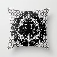 Throw Pillow featuring Black And White Victoria… by Saundra Myles