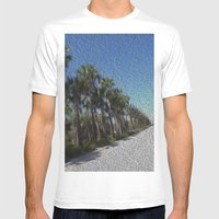 Infinite Palm Trees Mens Fitted Tee White SMALL
