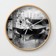 Summer space, smelting selves, simmer shimmers. [extra, 10, grayscale version] Wall Clock