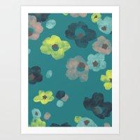 Watercolor Blooms - in Teal Art Print