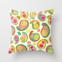 Veggie Paisley Throw Pillow