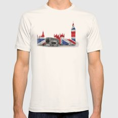 Big Ben, London Bus and Union Jack Flag Mens Fitted Tee Natural SMALL