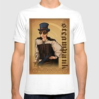 Steampunk Lady Mens Fitted Tee White SMALL