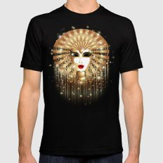 Golden Venice Carnival Mask  Mens Fitted Tee Black SMALL