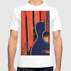 6 Strings and a Barn White Mens Fitted Tee SMALL