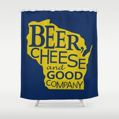 Blue and Gold Beer, Cheese and Good Company Wisconsin Graphic Shower Curtain