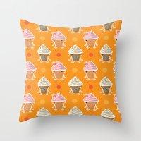 ice cream and sun bath Throw Pillow