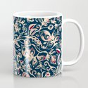 Navy Garden - floral doodle pattern in cream, dark red & blue Mug