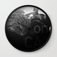 Cat On Cat Wall Clock
